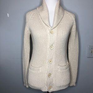 Ralph Lauren Cream Cotton Shawl Collar Cardigan
